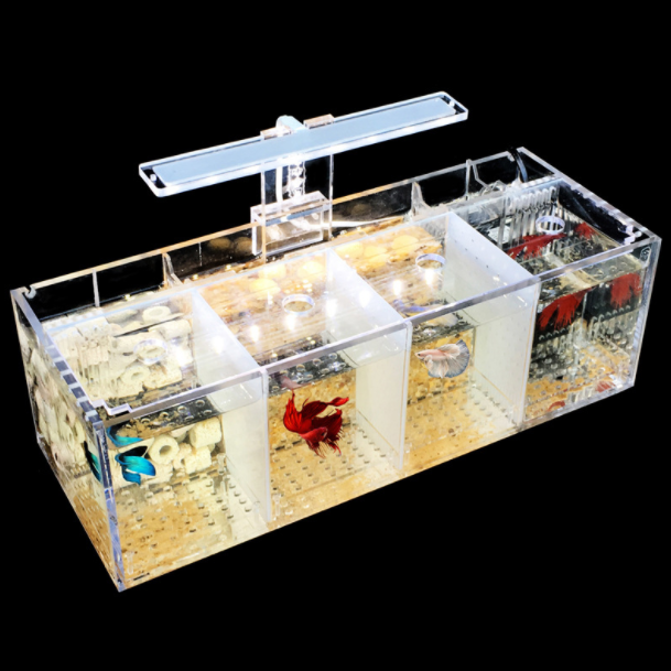 Led multi grid transparent acrylic fish tank aquarium