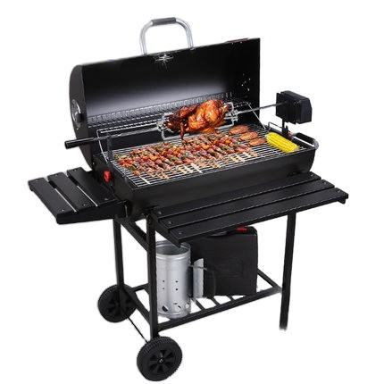 Hot Sales Charcoal Grill Outdoor Double Cooking Area Barrel BBQ Grills With Wheels