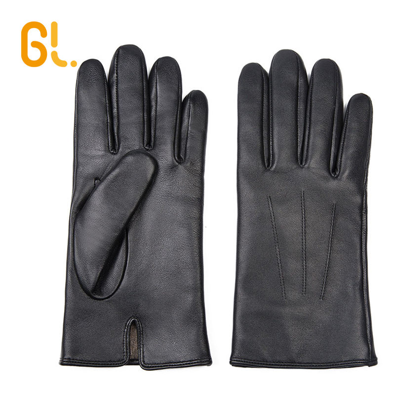 BW201A-C Wholesale Mens Winter Cashmere lining Good Genuine Sheepskin Black Brown Dress Leather Gloves for Car Driving
