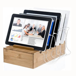 Natural Bamboo Charging Stations Stand Rack for Smartphones