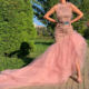 High Quality Fashion Long Celebrity Dresses 2020 Pink Halter Sexy Dubai Evening Prom Party Gowns With Feathers