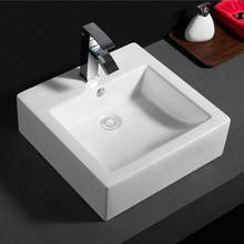 556 Single faucet hole square washbasin ceramic bathroom vanity vessel sink