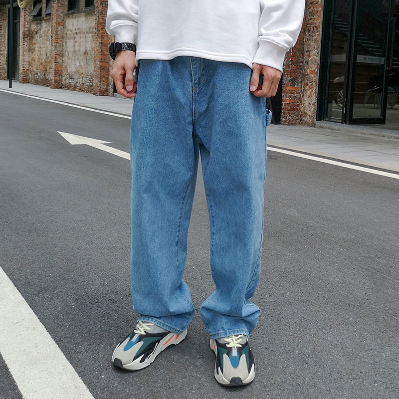 Chinese factory Distressed light blue plain jeans wholesale mens wide leg jean pants with direct sale price