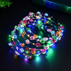 Partei Krone Blume Stirnband LED Licht Up Haar Kranz Haarband Girlanden Frauen Halloween Weihnachten Glowing Kranz Stirnband