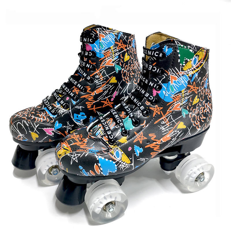Microfiber Roller Skates Double Line Skates Women Men Adult Two Line Skating Shoes with White PU 4 Wheels Training