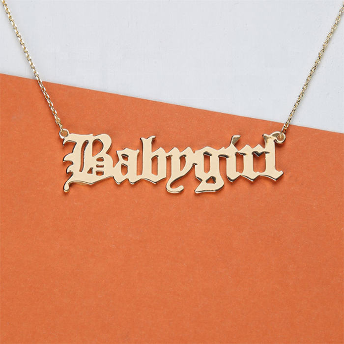 Fashion Letter Necklace 2019 Cute Babygirl Necklace in Gold or Silver Custom Gold Plated Jewelry Necklace Women Girls