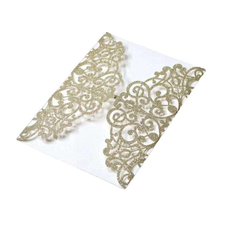 Laser Cut Wedding Invitations Cards Pearl Paper Inner Wedding Greeting Card with Ribbon Event Party Supplies