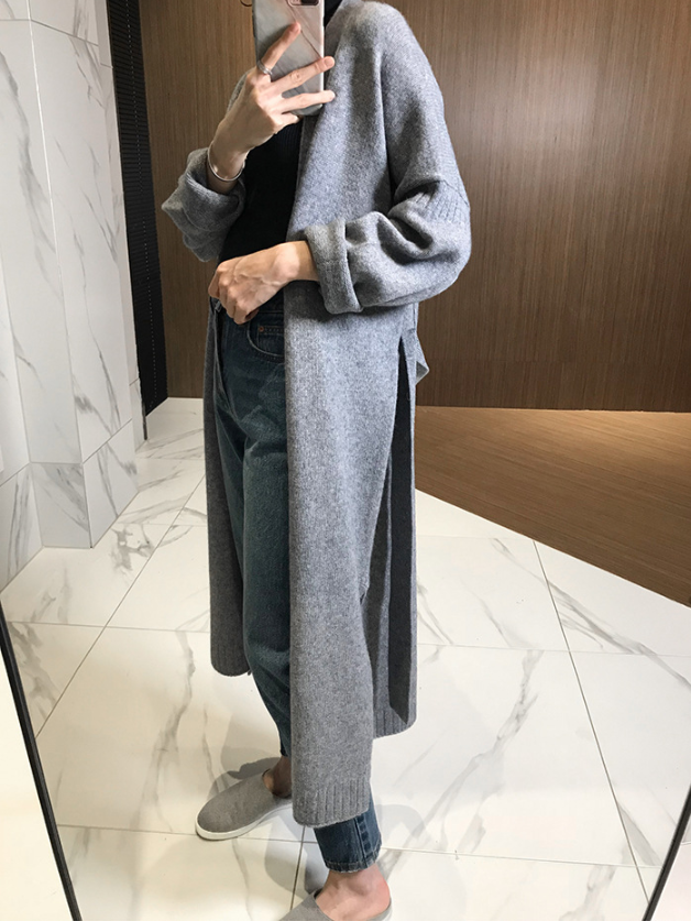 Fashion loose cashmere cardigan new autumn and winter lazy style sweater knitted coat women long female tide