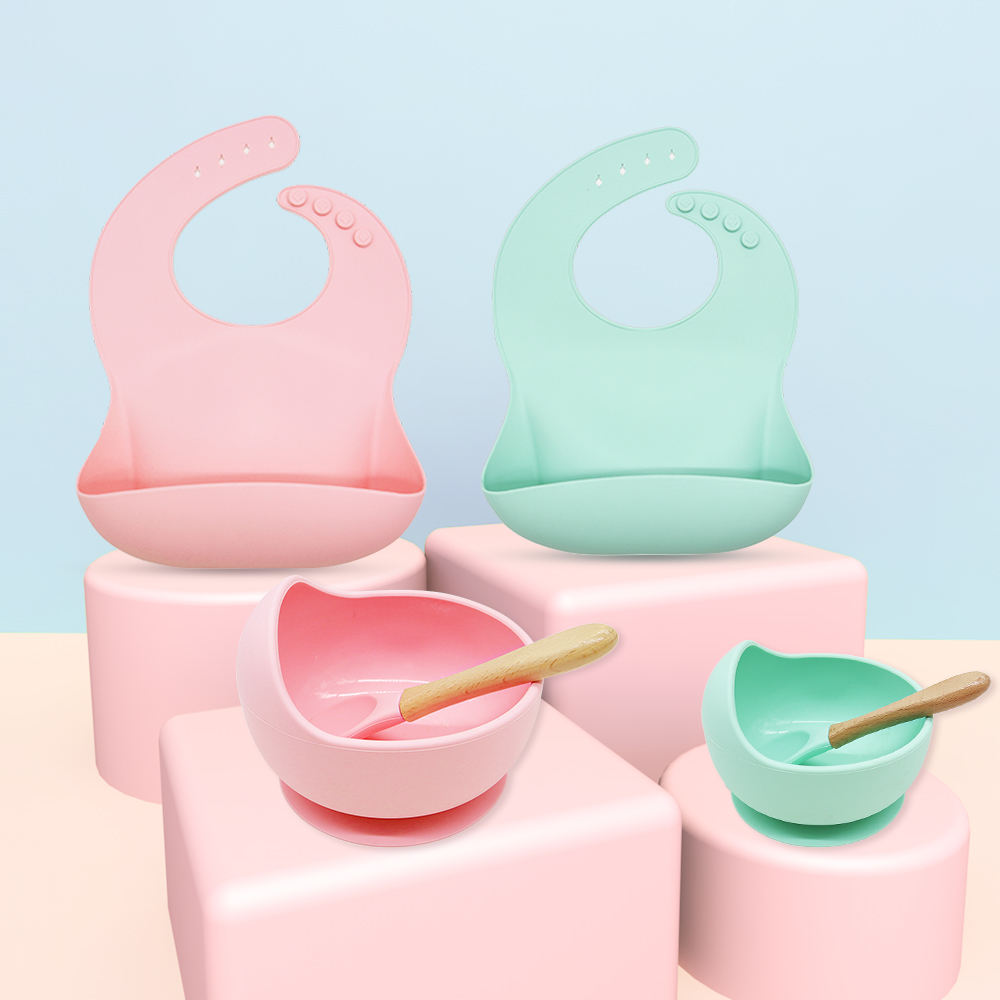 Hot sale stay put suction toddler bowl with spoon baby feeding bowls silicone