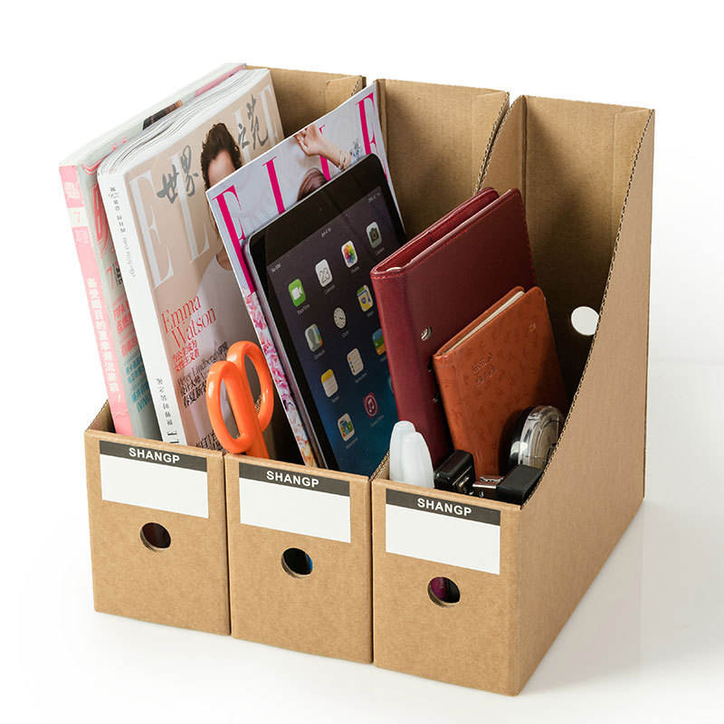 Corrugated letter storage products desktop magazine rack folding desk paper storage box magazine organizer desk file rack