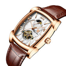 leather band watches men luxury brand automatic mechanical flying tourbillon watch