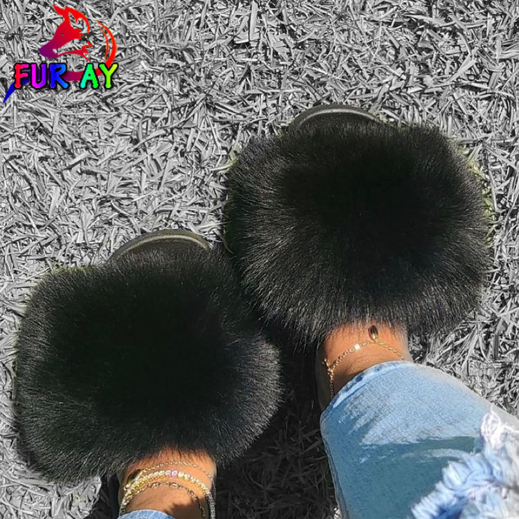 New hot sale fur slides channel fur slides blue fur slides