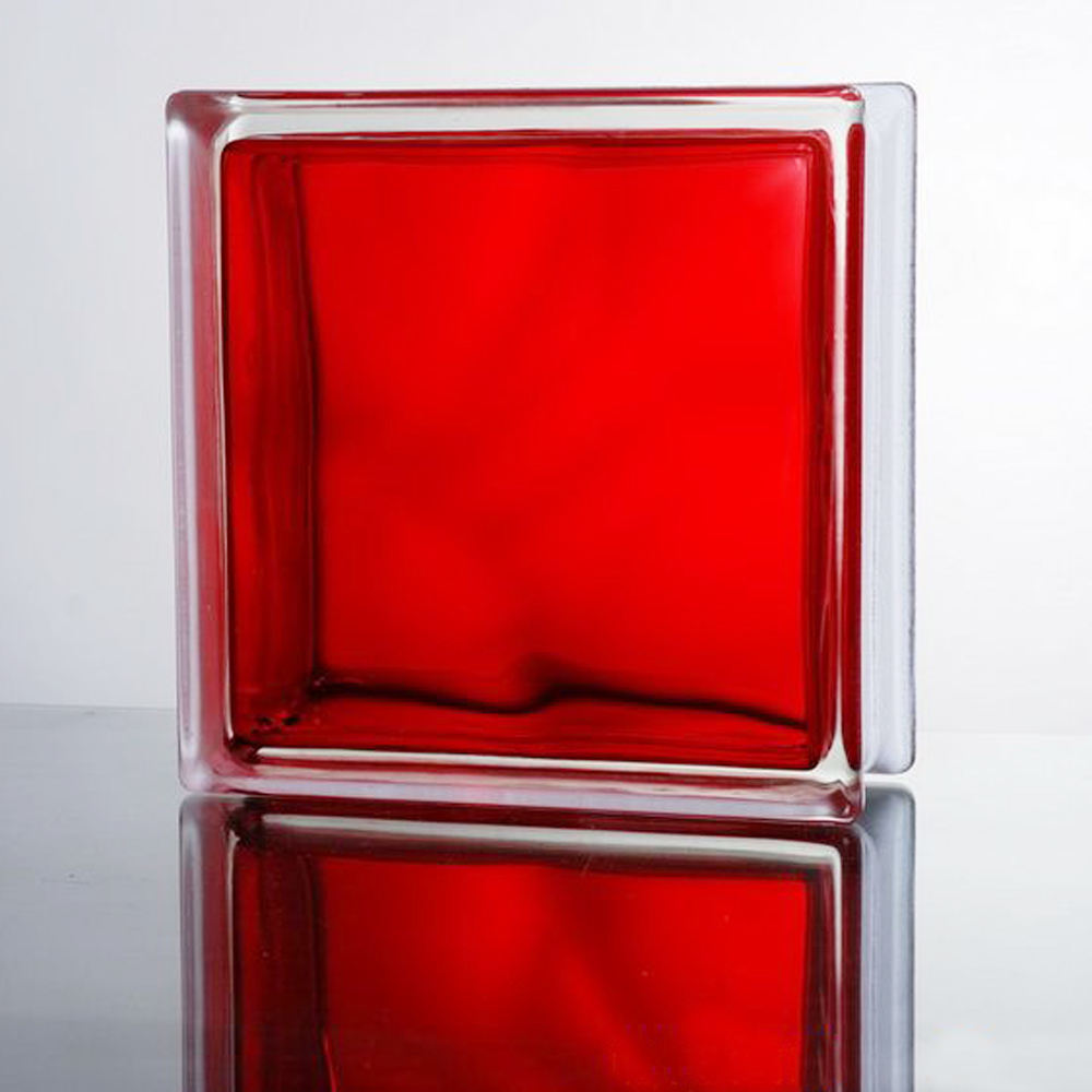 color red frosted glass block