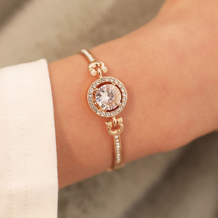 Fashionable lady sweet and versatile best gift contracted temperament noble flash diamond crystal alloy chain bracelet