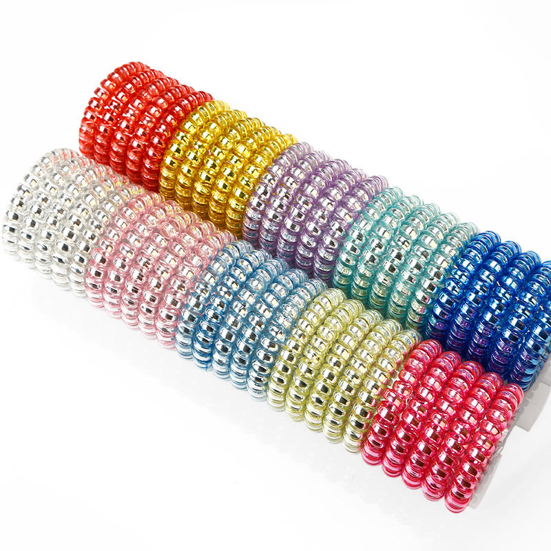 Professional Wholesale Metal Shinny Hair Accessories Spiral Hair Coils Hair Ties