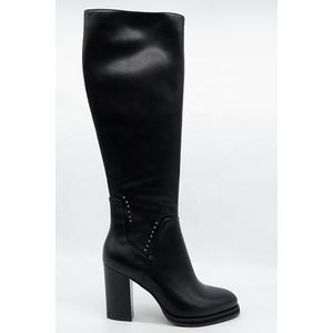 Fashion cheap high heel knee black women boots with rubber heel