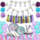 Professional manufacturer wholesale 1 garland, 1 paper towel garland birthday mermaid party supplies