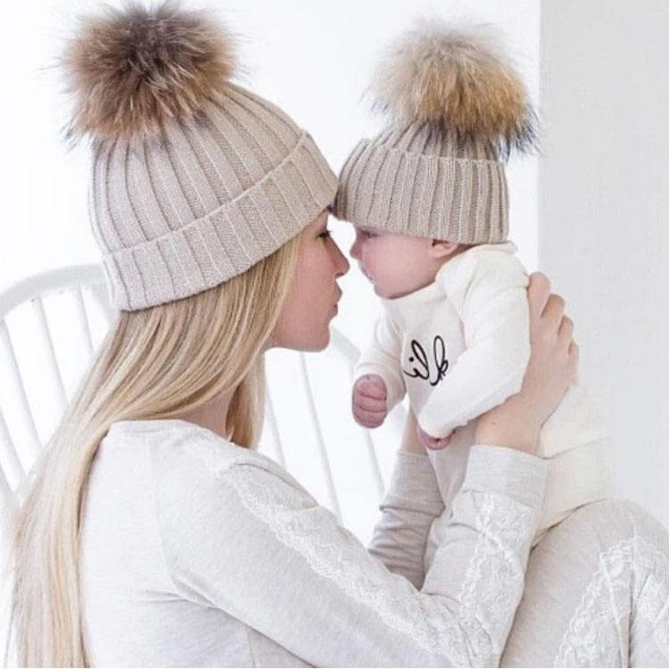 Mom and baby Winter hat Fur Pompom Hat Real Double Raccoon Fur Pom Poms Beanie Hats for baby and Mom