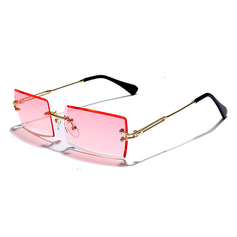 Wholesale 2020 Fashion Pink Sun Glasses Small Frameless Rimless Womens Square Shades Lens Sunglasses