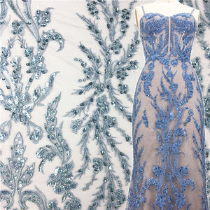 Sky Blue Embroidery Sequin Beaded Lace Fabric for Evening Gown