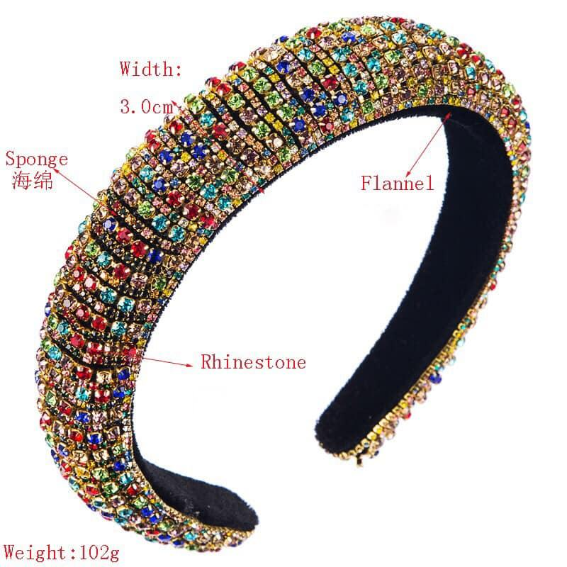 Full Handmade Colorful Baroque Pearl Crystal Headband For Women Luxury Shiny Padded Diamond Hairband Hair Accessories