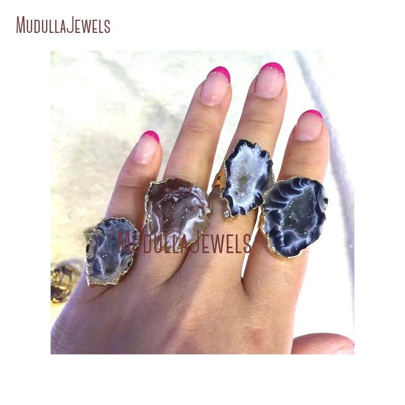 RM15037 Agate Geode Druzy Gold Silver Electroplated Irregular Shape Ring Adjustable Band Ring