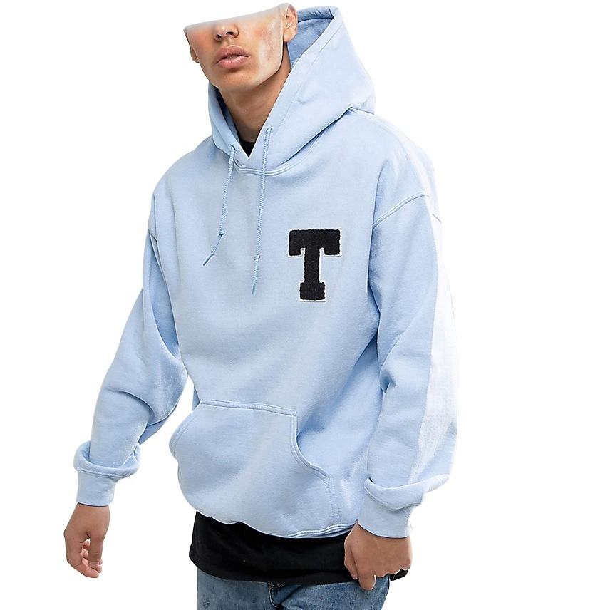 Hoodies manufacturer towel embroidery heavyweight 100% cotton plain pullover oversized hoodie