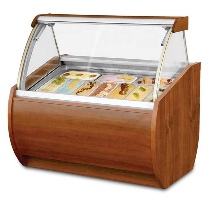 10 Pans Air Cooling Commercial Used Ice Cream Display Freezer Sale