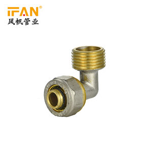 China rohr fitting Pex compression Fitting Messing Fitting codo de bronce 1/2 zoll 3/4 zoll Männlichen ellenbogen 16mm 20mm 90 grad Ellenbogen