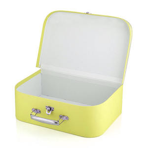 Custom Yellow Color Kids Suitcase Paper Gift Boxes Children's Clothing Packaging Baby Suitcase And Boxes Keepsake Box