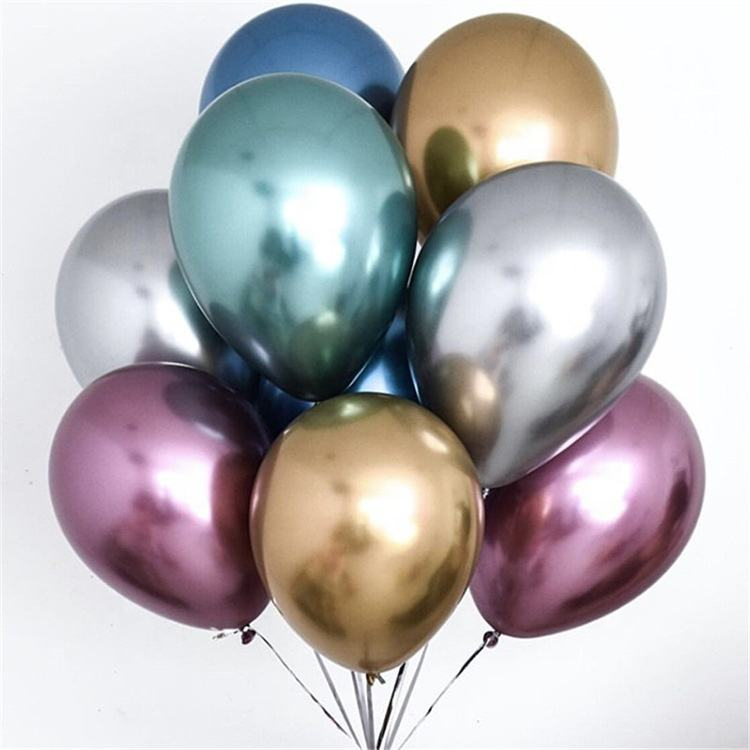 Nicro High Quality 12 inch Birthday Graduation Party Decoration Pearl White Gold Chrome Metallic Balloons Latex