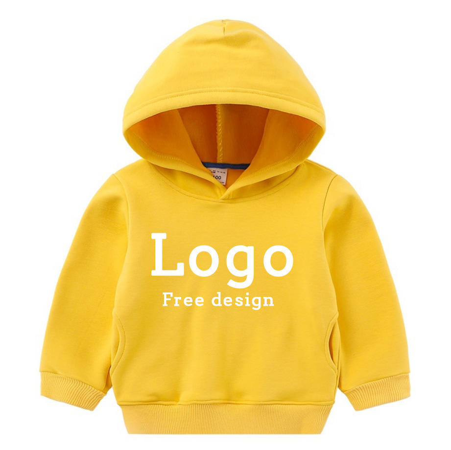 High quality spring fall children plain boys hoodies 100% cotton for kids baby hoodie t logo customization