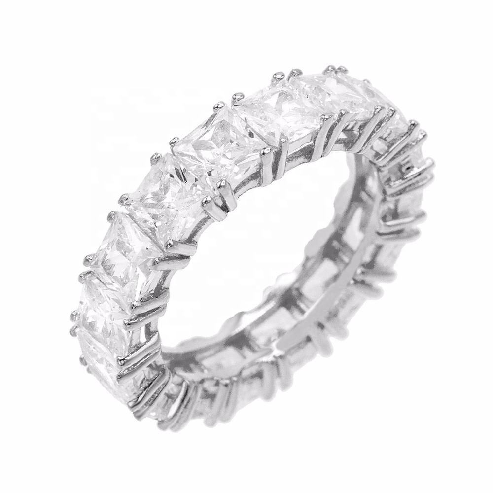Fashion Jewelry Custom Wholesale White Gold Square Eternity Wedding Ring Band Silver 925