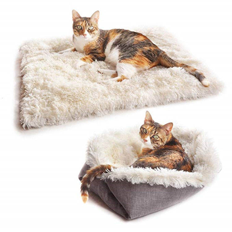 Manufacturer Wholesale Functional Foldable Warm Soft Plush Cat Mat Bed