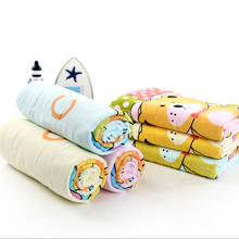 Cotton gauze printed bath towel baby towel held in kindergarten