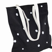 Wholesale light and polka dot canvas travel out shopping grocery bag