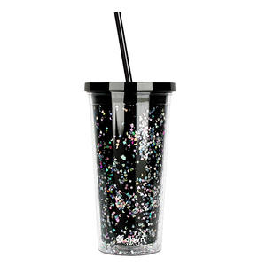 20 oz Personalized Wholesale Custom Acrylic Plastic Insulated Double wall Glitter Tumbler Cups With Straw And Lid