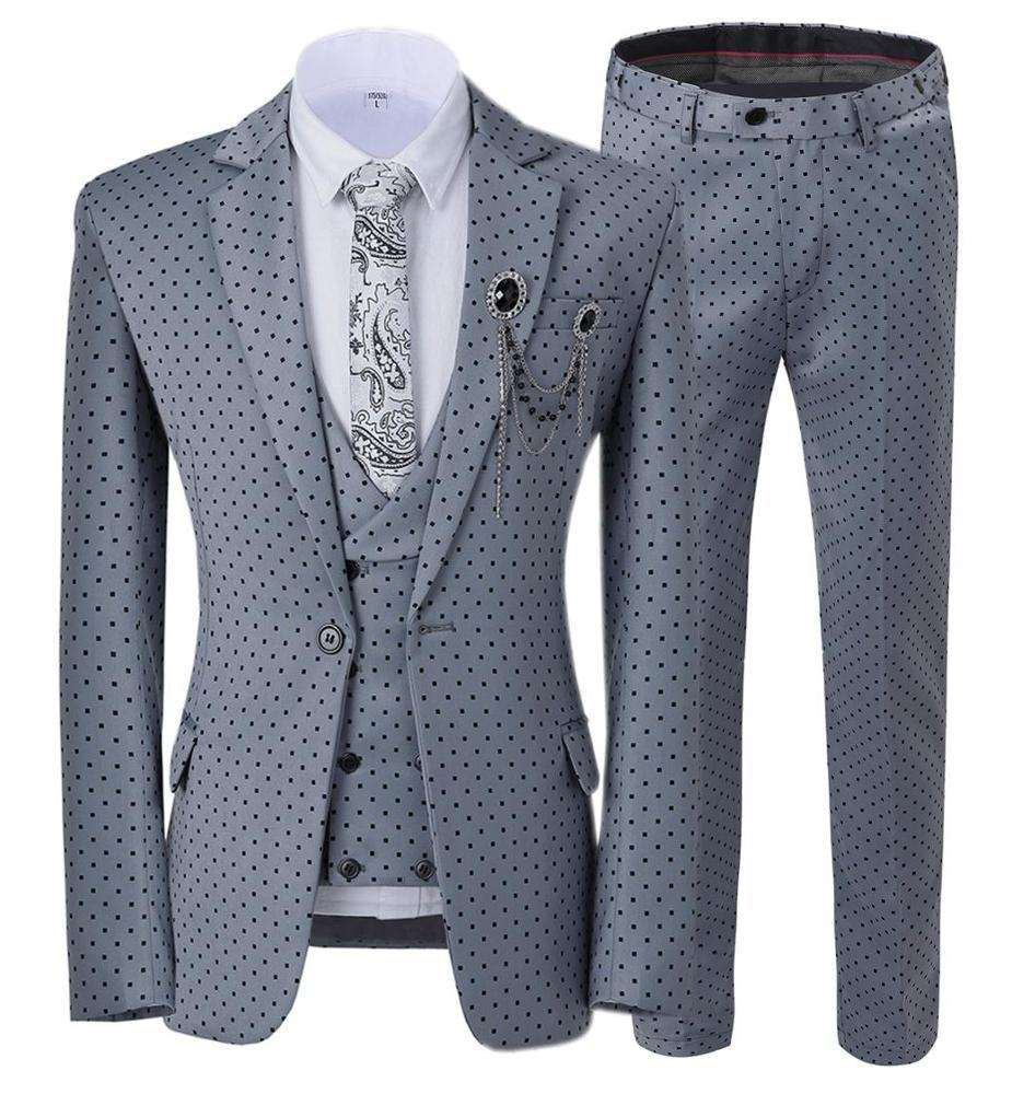 Business Notch Revers Polyester Viscose Voor Man Tr Pak Stof Vrouwen Suits Office Tuxedo (Blazer + Vest + Broek)