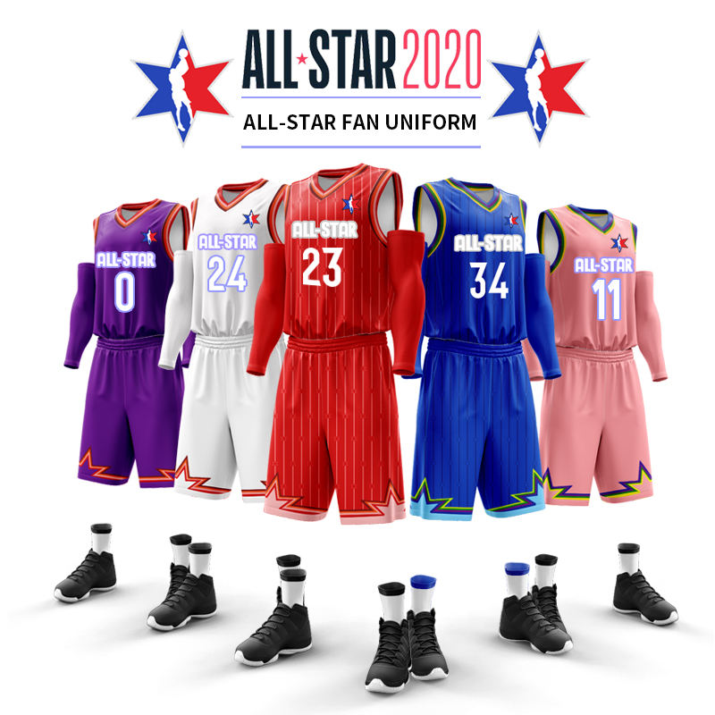 2020 all star fan basketball uniform Fully Sublimation Custom reversible basketball jerseys for adults and youth with JAMES 23