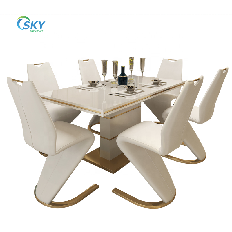 SKY MDF white high gloss super white tempered glass dining table sets with shining stainless steel