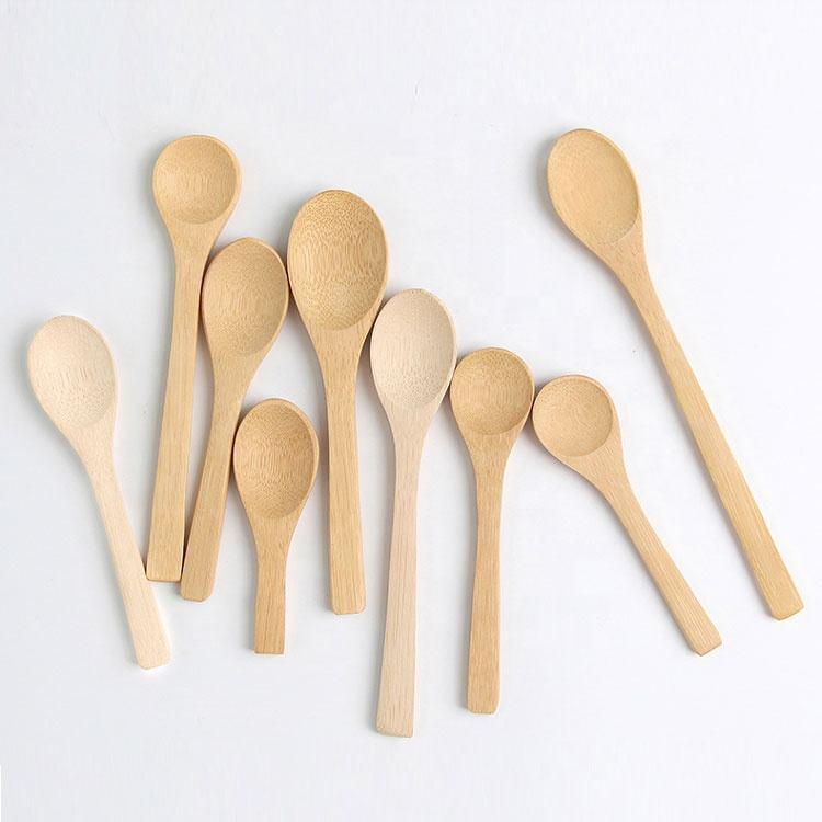 free logo engraving disposable small bamboo wooden spoons for honey, coffee, coconut oil