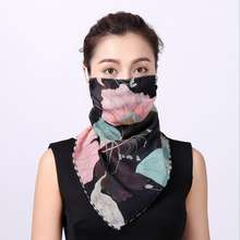 Floral print female summer sunscreen Scarf Chiffon Face Protection bandana Dustproof bandana Respirrator Scarf