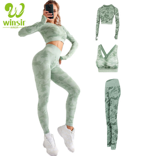 Fall women active wear athletic gym clothing seamless camo knitted fitness bra long sleeve crop top 3 piece yoga set with pants