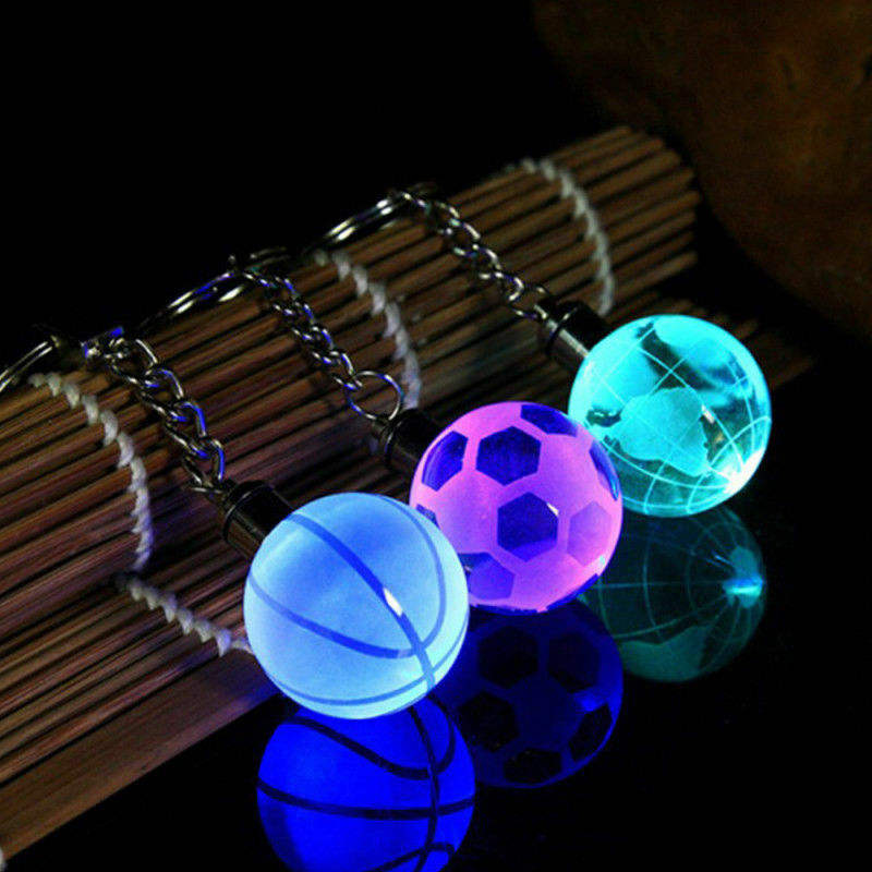 Crystal Ball 3D Engraved Key Chain Ring Keyring Keychain LED Glow Pendant Gift