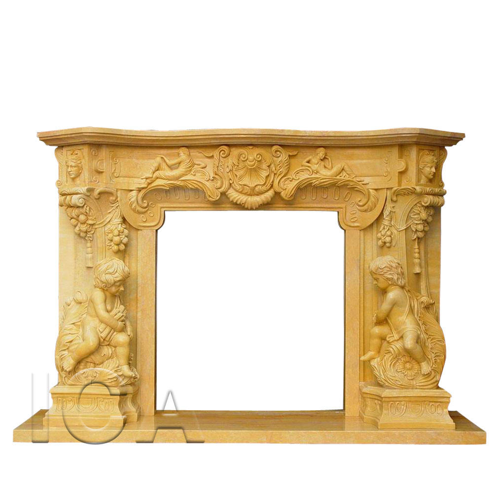 Yellow antique mill stones fireplace in cream granite chimney cowl marble fireplace surround and frame