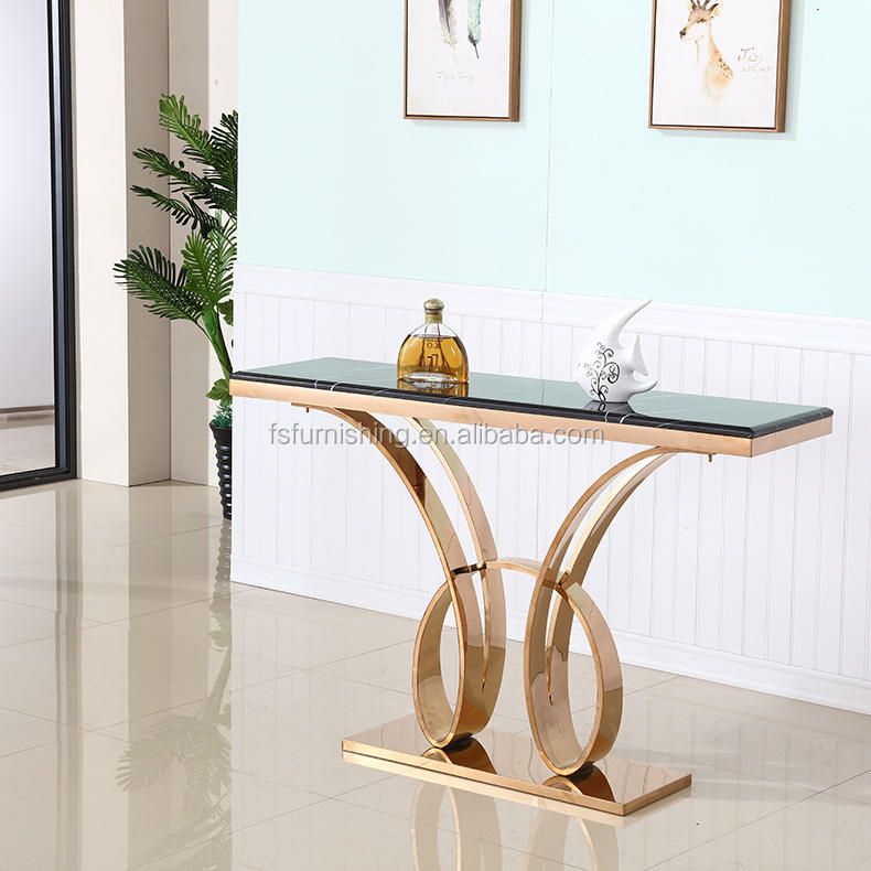 LDN02 Fashion rectangular black marble top gold stainless steel butterfly pattern base Foshan manufacturer console table