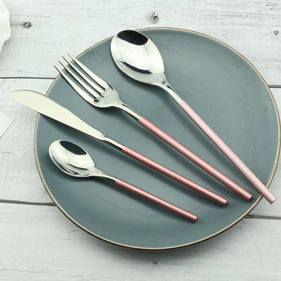 Manufacturer Wholesale Dinnerware Cutlery Set Stainless Steel Rose Gold Spoon Fork Knife 4 Pcs Tableware Set