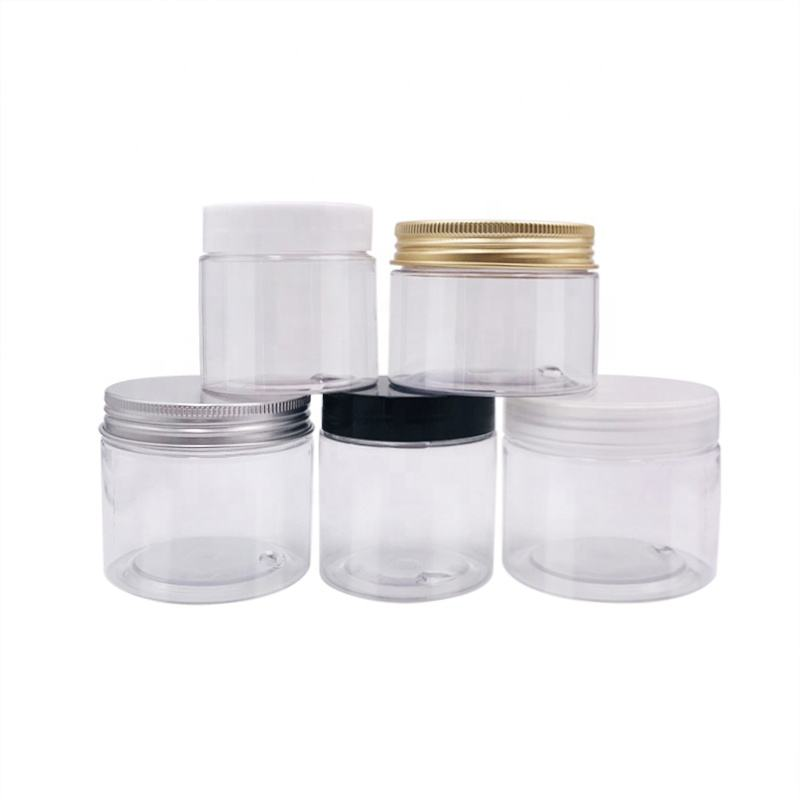 1 oz 2oz 4oz 30ml 40ml 50ml 60ml 80ml 100ml 120ml Clear Plastic PET Jar Plastic Jar with Aluminium Lid White Inner Seal