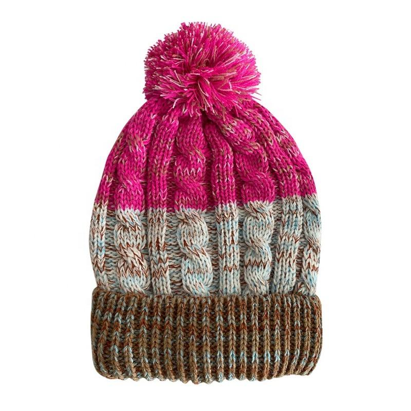 custom wholesale ladies acrylic knit cable womens beanie with fleece lining