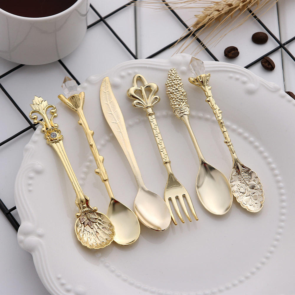 Wholesale Custom Wedding Party Hotel Buffet Catering Tableware Restaurant Cutlery Stainless Spoon Gold Flatware Set